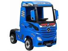 Load image into Gallery viewer, Licensed Mercedes Actros children's 24v ride on lorry with upgraded LEATHER seat, EVA RUBBER tyres, MP4 screen and has parental control- Blue
