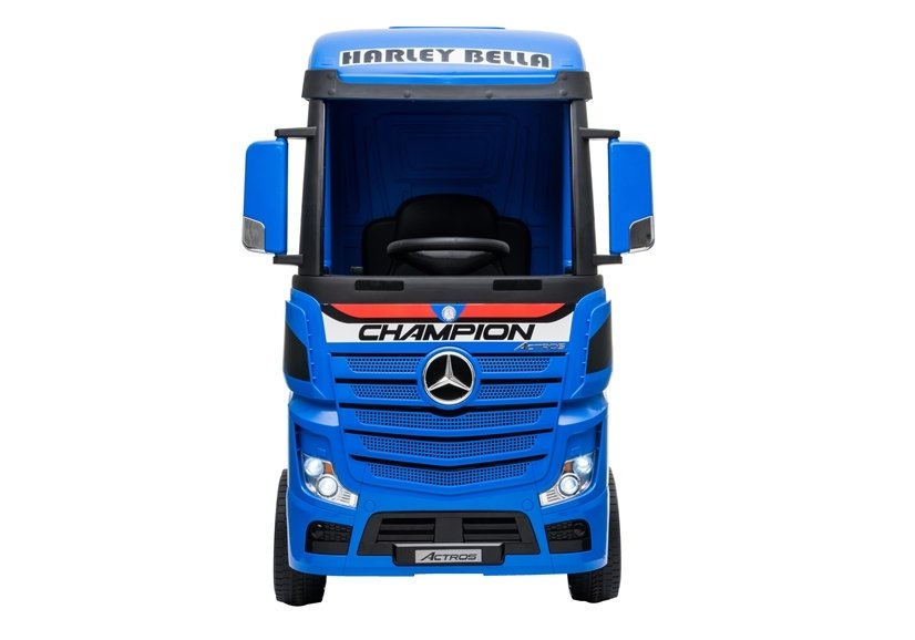 Licensed Mercedes Actros children's 24v ride on lorry with upgraded LEATHER seat, EVA RUBBER tyres, MP4 screen and has parental control- Blue