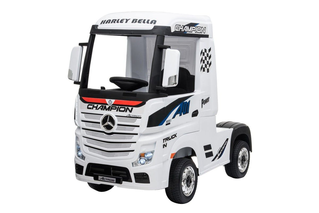Licensed Mercedes Actros children's 24v ride on lorry with upgraded LEATHER seat, EVA RUBBER tyres, MP4 screen and has parental control- white