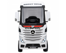 Load image into Gallery viewer, Licensed Mercedes Actros children's 24v ride on lorry with upgraded LEATHER seat, EVA RUBBER tyres, MP4 screen and has parental control- white