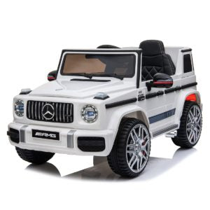 Licensed Mercedes Benz G63 AMG 12V Battery Electric Ride on Car with upgraded LEATHER seats and EVA RUBBER tyres - White