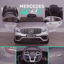 Load image into Gallery viewer, Mercedes GLC63S AMG Ride On Car 12V with LEATHER seat, EVA tyres and MP4 SCREEN- METALLIC SILVER