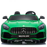 OFFICIAL LICENSED 24V KIDS ELECTRIC RIDE ON MERCEDES GT R AMG 4WD WITH PARENTAL REMOTE CONTROL - 2 SEATER MODEL GREEN