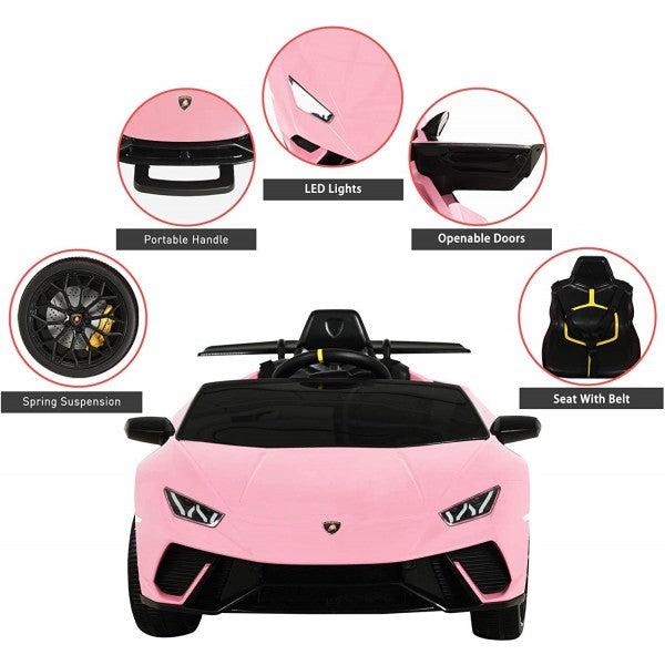 Licensed Lamborghini Huracán Performante Children's Battery Operated 12V Ride on car - Pink