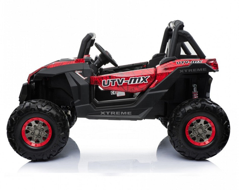Renegade UTV-MX Buggy Style 24V 4WD Kids Electric Ride On With EVA Tyres, LEATHER seats and MP4 screen - Red spider-man