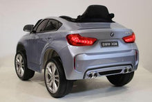 Load image into Gallery viewer, Licensed BMW X6M 12V Electric Ride On Car with upgraded LEATHER seats, EVA tyres and metallic blue painted