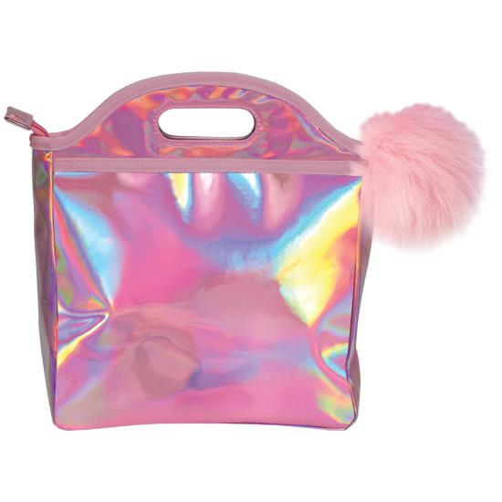 Pink Holographic Lunch Tote with Pom Pom-Gifts - Kids Misc-Iscream-Eden Lifestyle