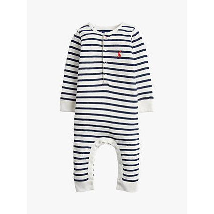 Joules Webley White Navy Stripe Babygrow-Baby Boy Apparel - Rompers-Joules-18-24M-Eden Lifestyle
