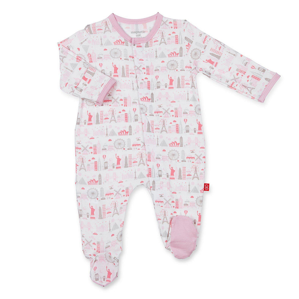 Magnetic Me by Magnificent Baby Pink Globetrotter Modal Magnetic Footie-Baby Girl Apparel - One-Pieces-Magnificent Baby-0-3M-Eden Lifestyle
