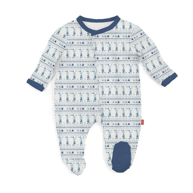 Magnetic Me by Magnificent Baby Blue Foxy Fair Isle Modal Magnetic Footie-Baby Boy Apparel - One-Pieces-Magnificent Baby-NB-Eden Lifestyle