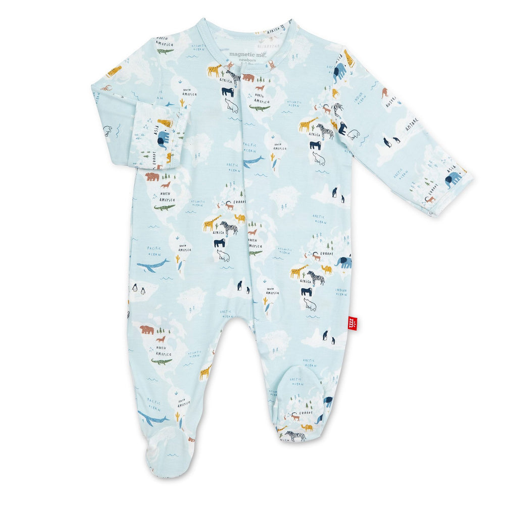 Magnificent Baby, Baby Boy Apparel - Pajamas,  Magnetic Me Sea The World Modal Magnetic Footie