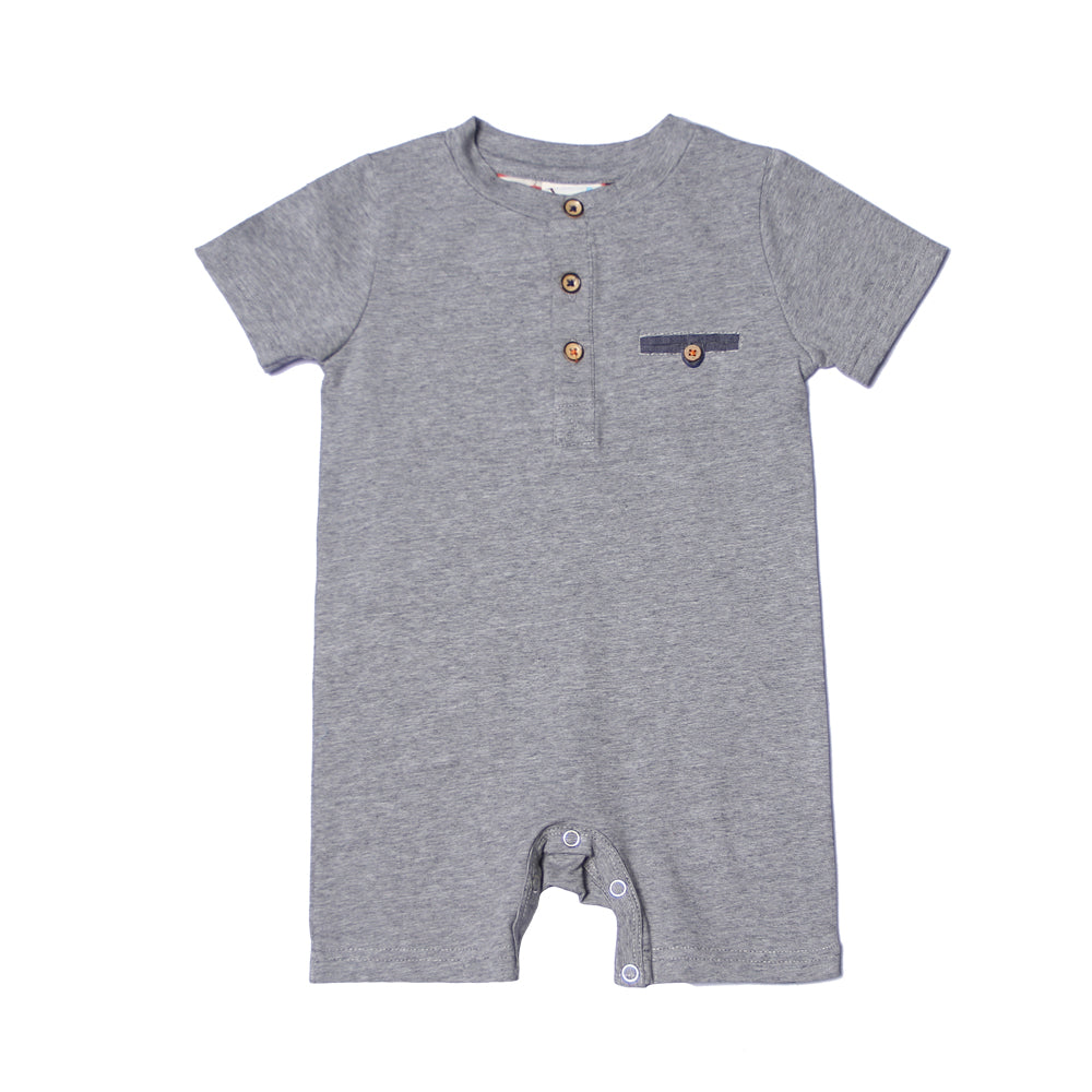 Fore! Axel & Hudson Mini Henley Romper-Baby Boy Apparel - Rompers-Fore-6-9M-Grey-Eden Lifestyle