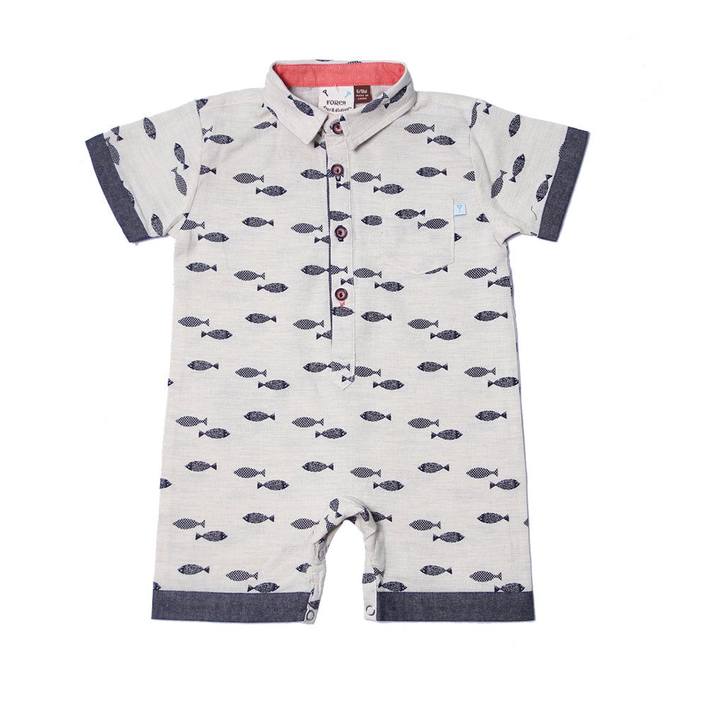 Fore! Axel & Hudson Fly Fish Romper-Baby Boy Apparel - Rompers-Fore-6-9M-Eden Lifestyle