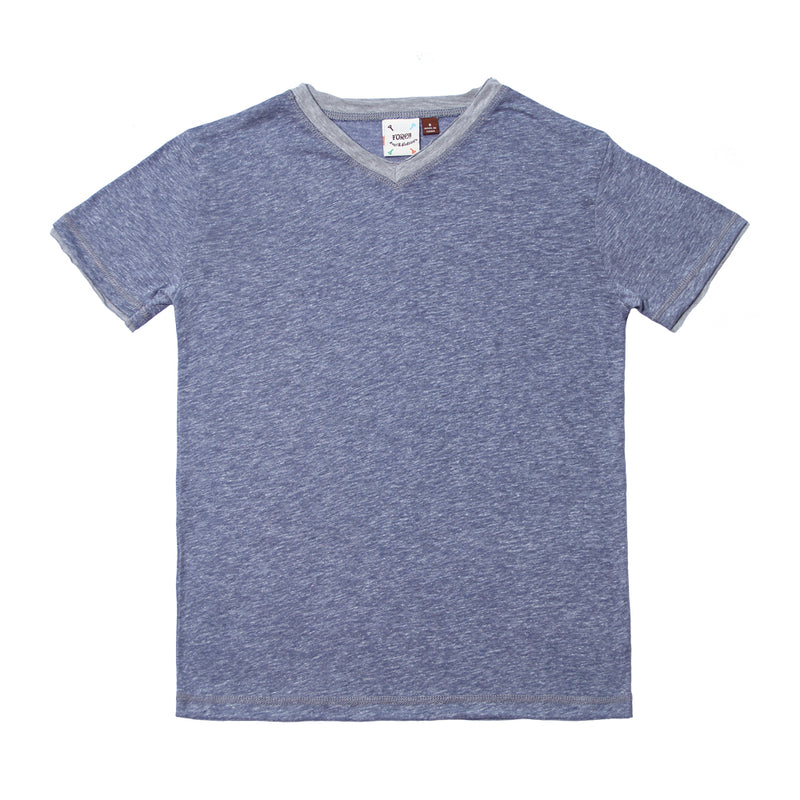 Blue White Heather Melange Jersey Tee