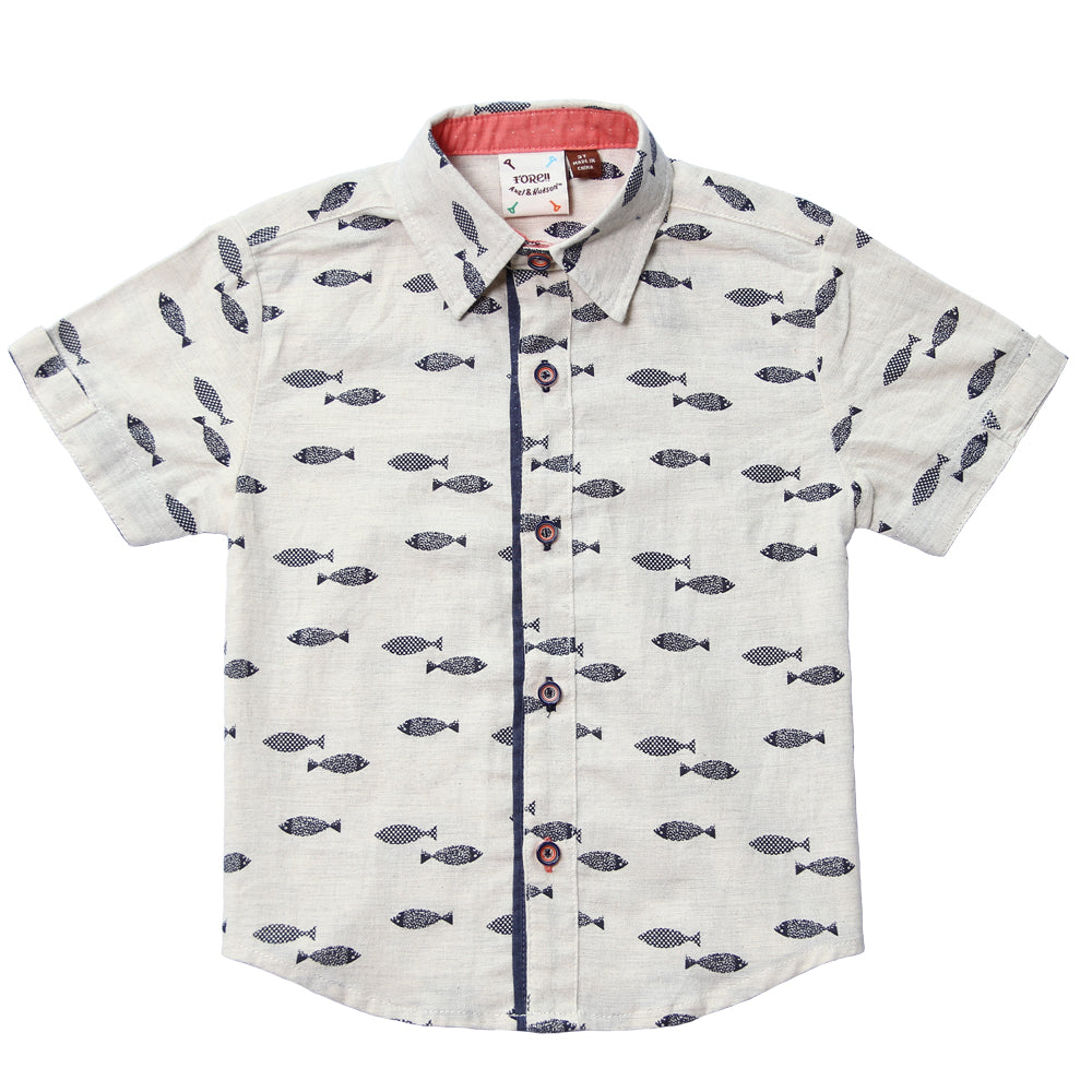 Fore! Axel & Hudson Fly Fish Boy Button Up-Boy - Shirts-Fore-2T-Eden Lifestyle
