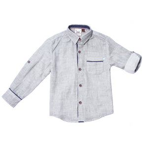 Fore! Axel & Hudson Heather Gray Button Up Boys Shirt-Boy - Shirts-Fore-2T-Eden Lifestyle