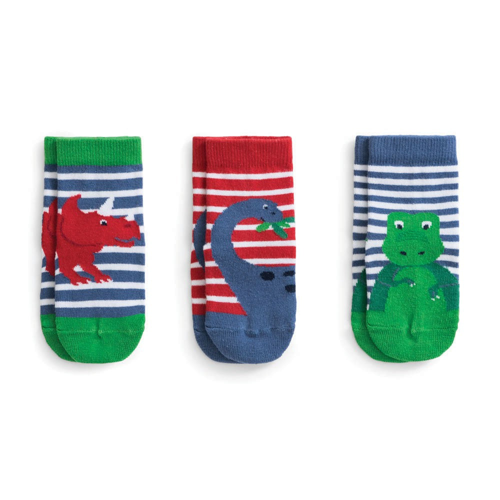 Jojo Maman Bebe 3-Pack Bright Dino Socks-Accessories - Socks-Jojo Maman Bebe-6-12M-Eden Lifestyle