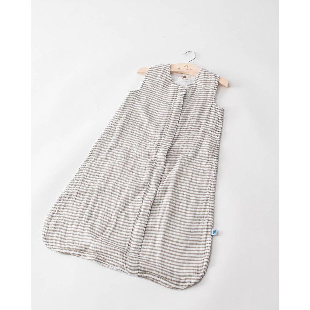 Little Unicorn Sleep Bag - Grey Stripe-Baby Boy Apparel - Pajamas-Little Unicorn-0-6M-Eden Lifestyle