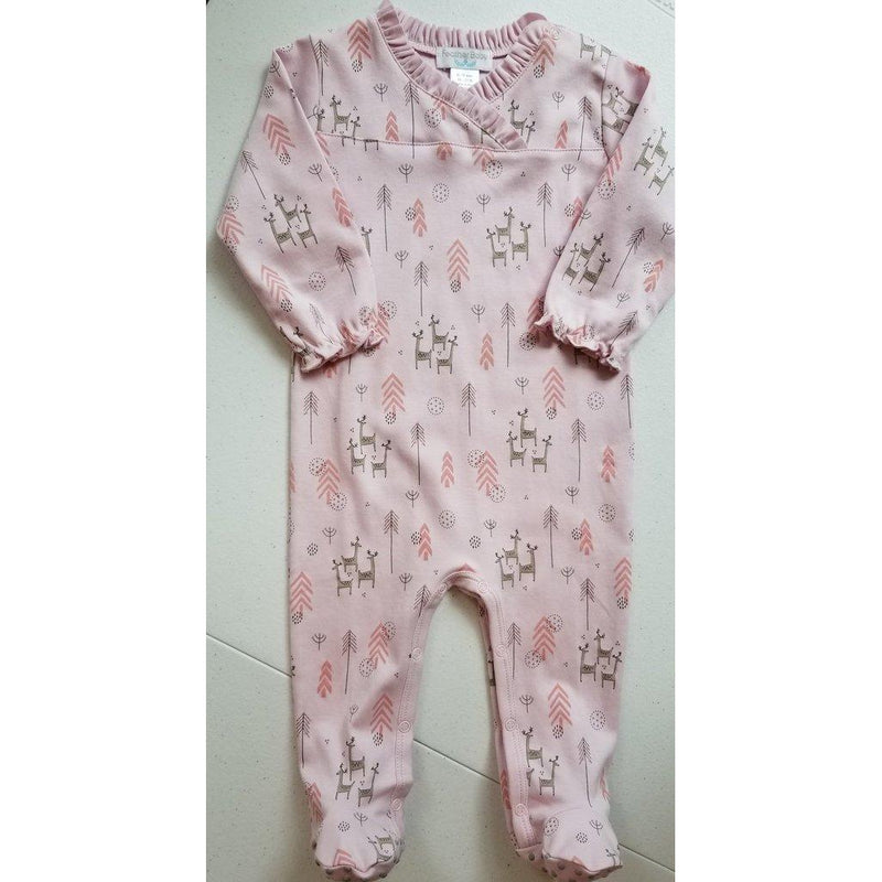 Crossover Footie ~ Festive Deer on Soft Pink-Baby Girl Apparel - One-Pieces-Feather Baby-0-3M-Eden Lifestyle