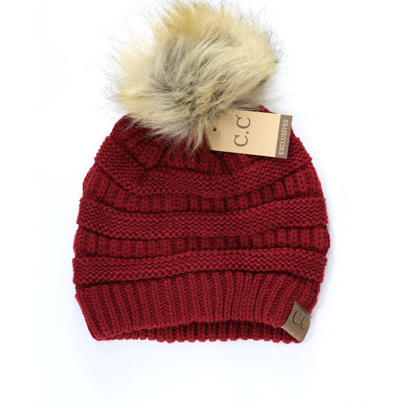 Fur Pom Pom Beanie-Accessories-Eden Lifestyle-Burgundy-Eden Lifestyle