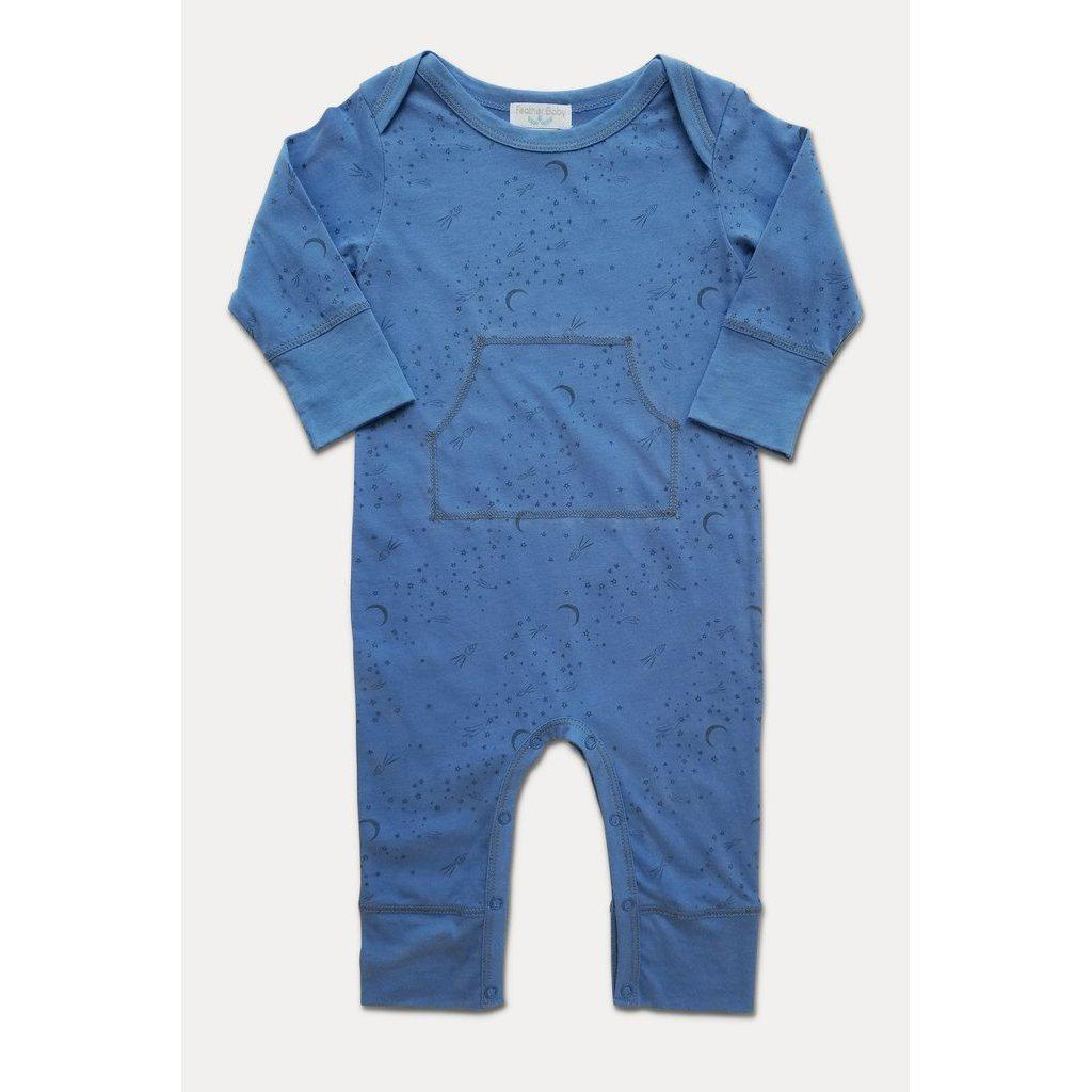 Faux Kangaroo ~ Rocket To The Moon - Black on Blue-Baby Boy Apparel - Rompers-Feather Baby-6-9M-Eden Lifestyle