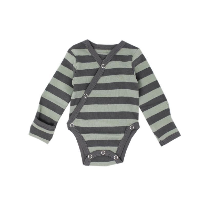 L'ovedbaby Organic Kimono Bodysuit - Stripe Hype-Baby Boy Apparel - One-Pieces-Loved Baby-Preemie-NB-Gray/Seafoam Stripe-Eden Lifestyle