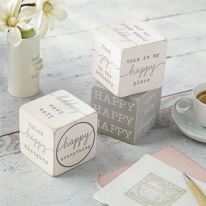Mud Pie, Home - Decorations,  Happy Sentiments Blocks