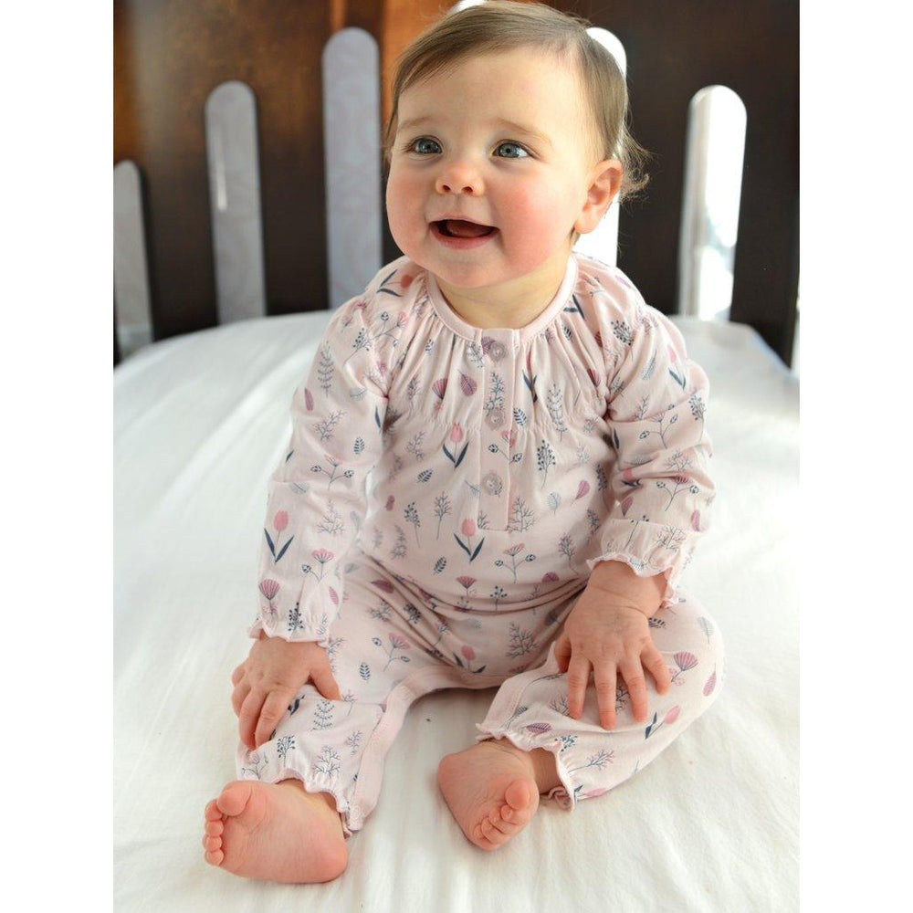 Feather Baby, Baby Girl Apparel - Rompers,  Ruched Romper~ Milly on Coral