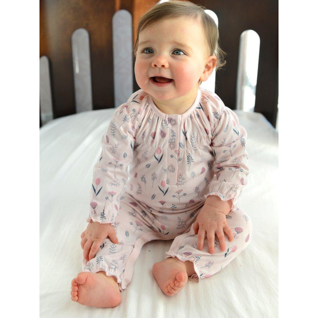 Ruched Romper~ Milly on Coral-Baby Girl Apparel - Rompers-Feather Baby-6-9M-Eden Lifestyle