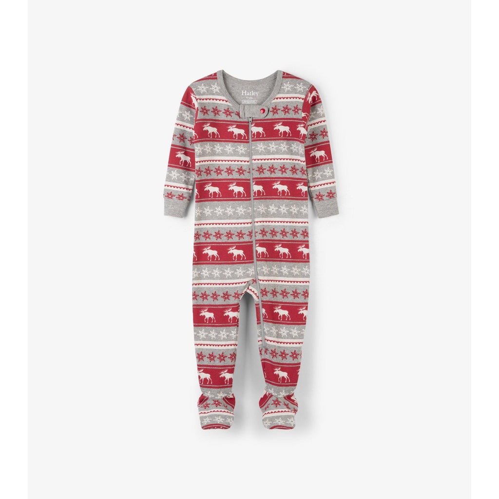 Hatley Fair Isle Moose Organic Cotton Footed-Baby Boy Apparel - One-Pieces-Hatley-6-9M-Eden Lifestyle