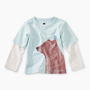 Tea Collection, Girl - Shirts & Tops,  Brown Bear Layered Graphic Tee