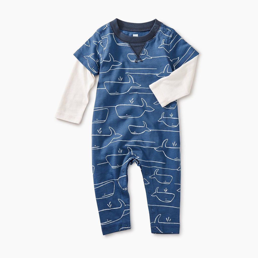 Whale of a Time Layered Romper-Baby Boy Apparel - Rompers-Tea Collection-12-18M-Eden Lifestyle