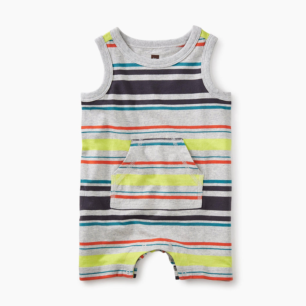 Tea Collection, Baby Boy Apparel - Rompers,  Tank Romper - Light Gray Heather