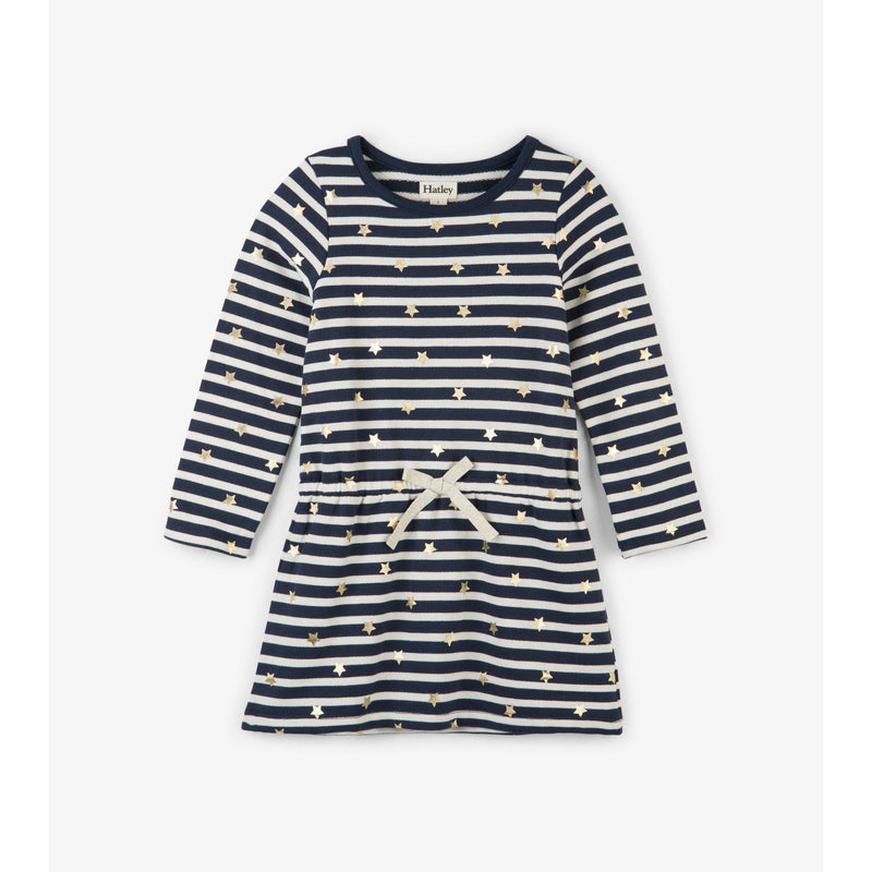 starry stripes french terry dress