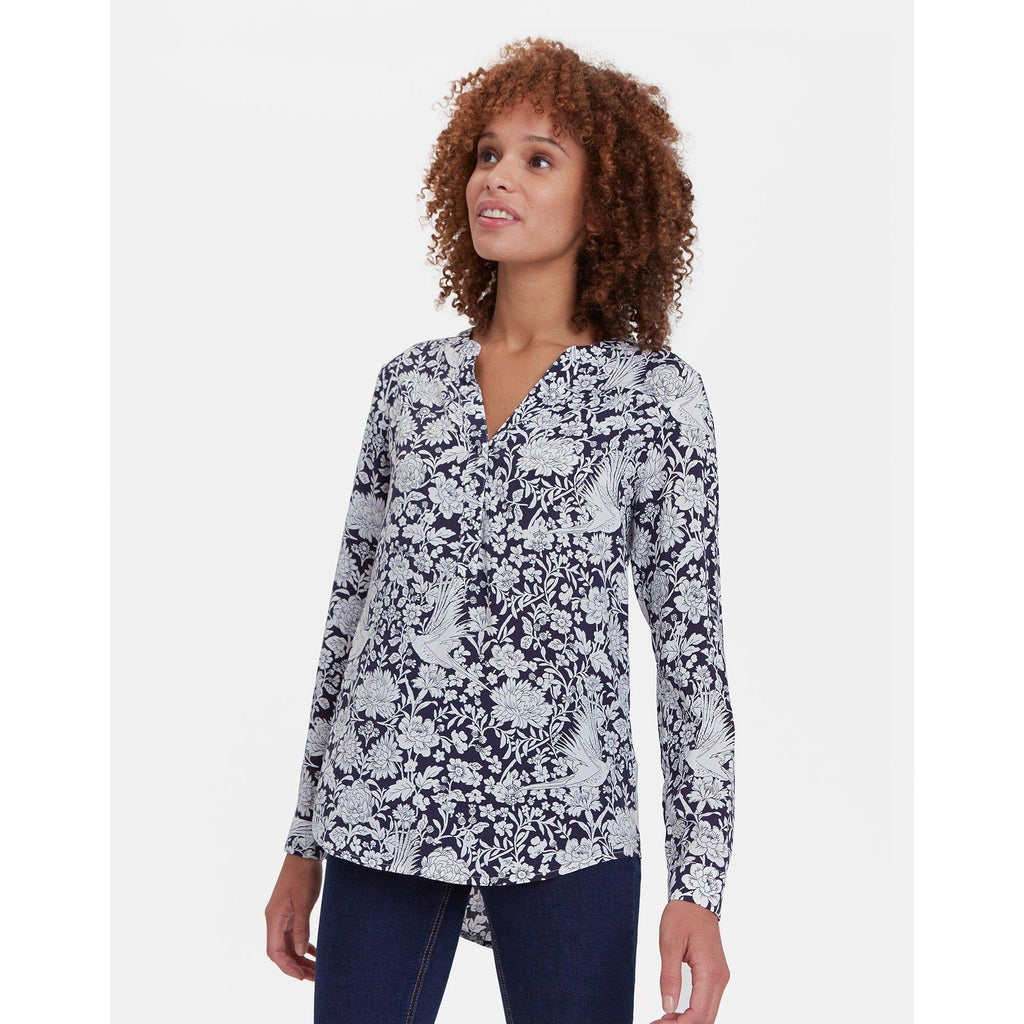 Rosamund Blouse - French Navy Pheasant Floral