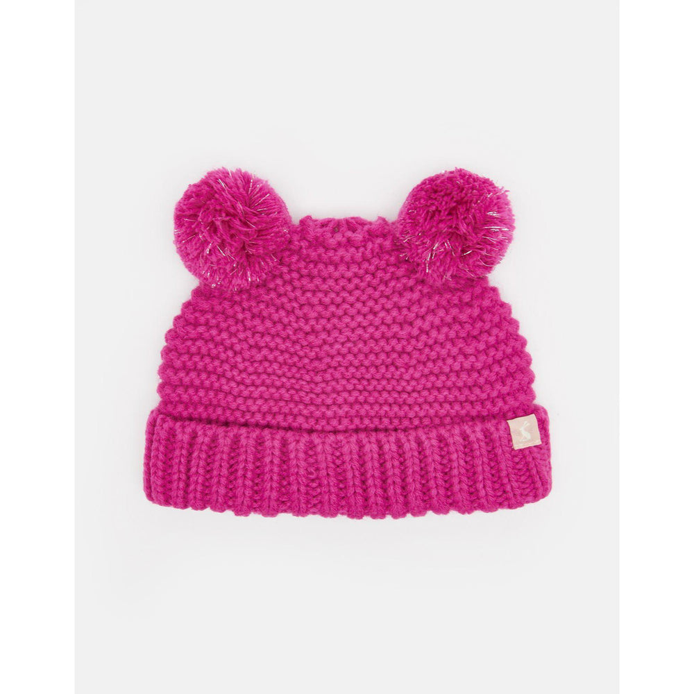 Joules Knitted Double Pom Pom Hat-Accessories - Hats-Joules-0-6M-Truly Pink-Eden Lifestyle