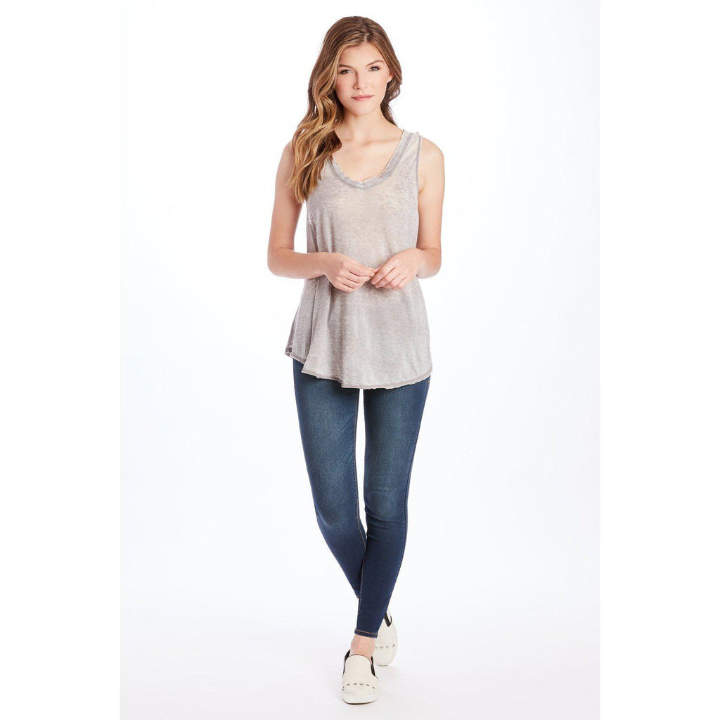 Allison Burnout Heather Grey V-Neck-Women - Shirts & Tops-Another Love-XS-Eden Lifestyle