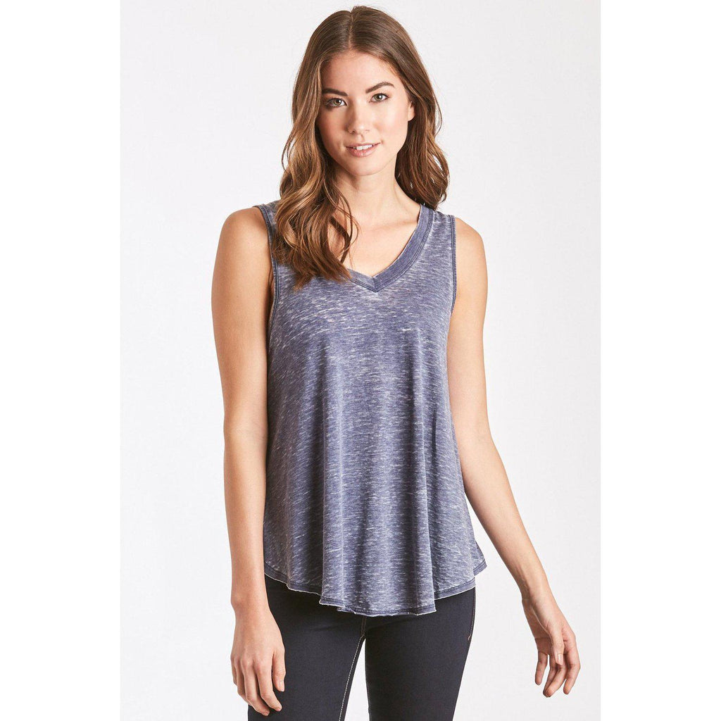 Allison Navy Burnout V-Neck-Women - Shirts & Tops-Another Love-S-Eden Lifestyle
