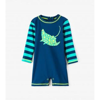 Hatley Friendly Manta Rays Mini Rashguard One-Piece-Baby Boy Apparel - Swimwear-Hatley-3-6M-Eden Lifestyle