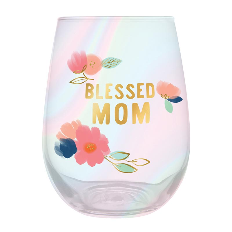 Eden Lifestyle, Home - Drinkware,  Blessed Mom Stemless Glass
