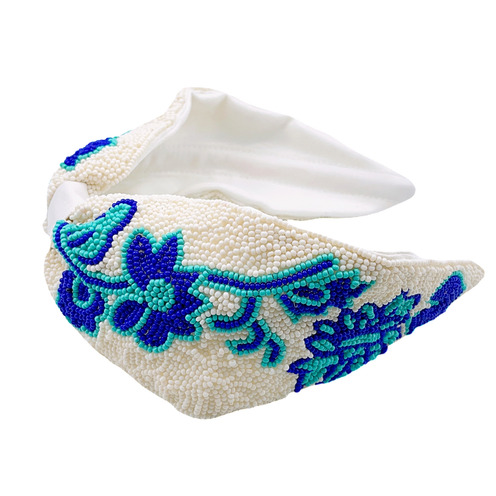 Eden Lifestyle, Accessories - Bows & Headbands,  Blue Flower White Headband