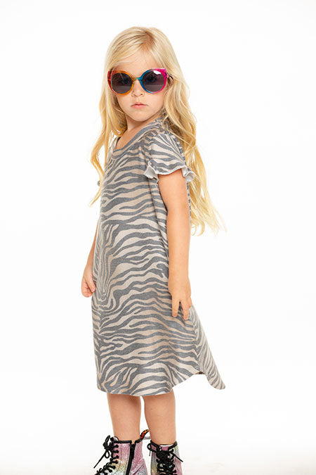 Chaser Girls Cozy knit ruffle short sleeve shirt tail dress Zebra