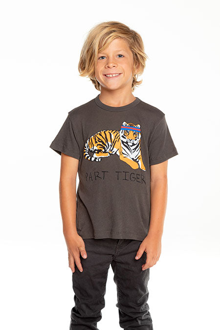 Chaser - Boys Gauzy Cotton Short Sleeve Tee - Sporty Tiger