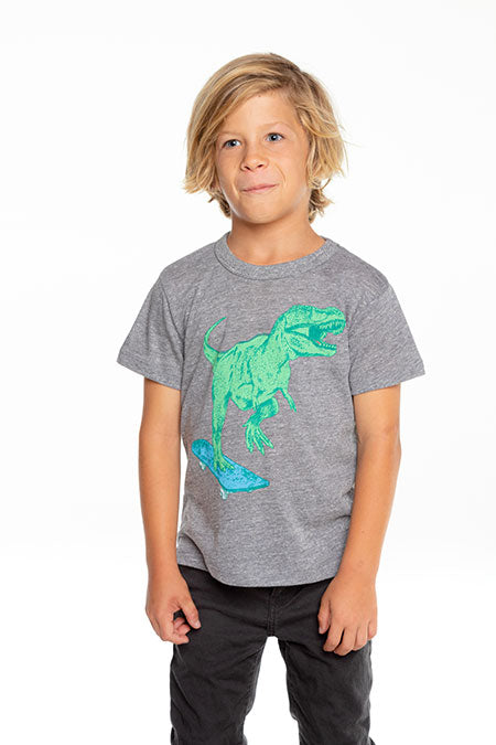 Chaser, Boy - Tees,  Chaser - Boys Triblend Short Sleeve Crew Neck Tee - Dino Skater