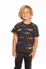 Chaser - Chaser - Boys Gauzy Cotton Short Sleeve Tee - Race Cars