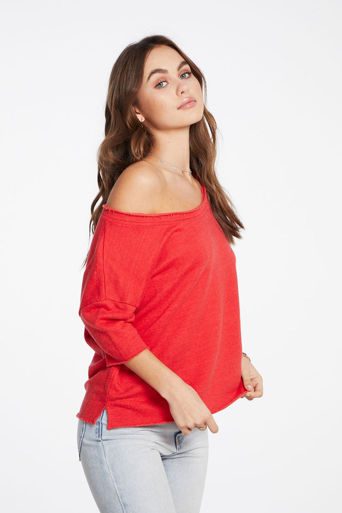 Chaser, Women - Shirts & Tops,  Chaser - Linen French Terry 3/4 Sleeve Drop Shoulder Open Neck Pullover