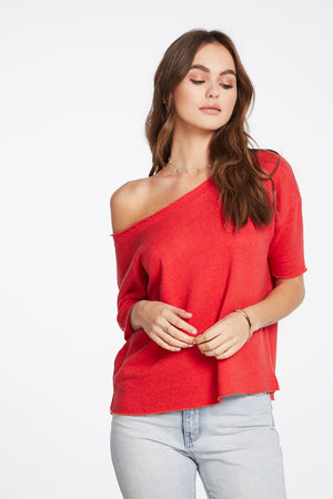 Chaser - Linen French Terry 3/4 Sleeve Drop Shoulder Open Neck Pullover