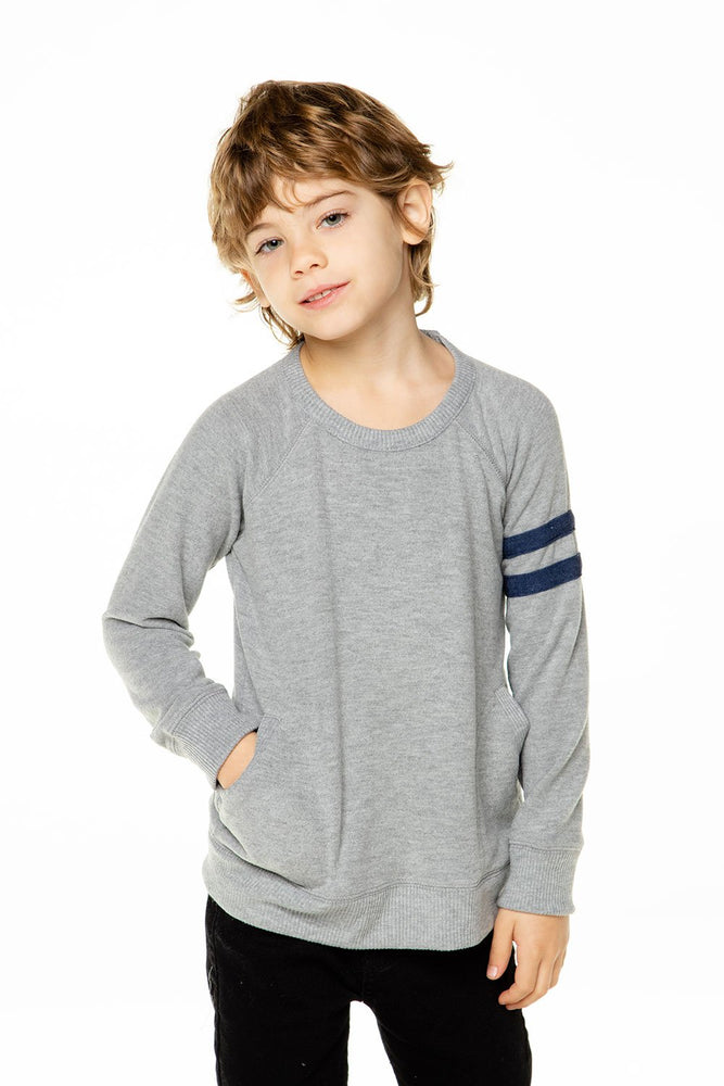 Chaser, Boy - Shirts,  Chaser Boys Love Knit Long Sleeve Pocket Pullover with Strappings