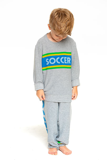 Chaser Boys Cozy Knit Crew Neck Pullover Soccer Sweater