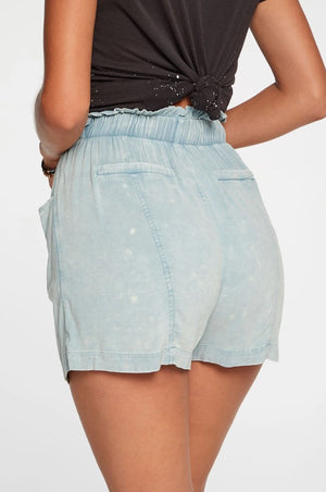 Chaser, Women - Shorts,  Chaser Heirloom Wovens Paperbag Waist Shorts In Powder Blue Cloud Wash